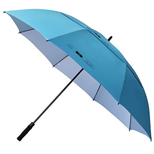 Prospo 68 inch Large Oversized Gold Umbrella UV Protection Auto Open Windproof Waterproof Double Canopy Vented Stick Umbrellas for Men Women(Sky Blue)