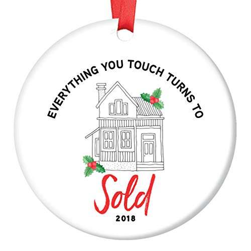 Glaze Estate (Real Estate Agent 2018 Ornament Christmas Gift Idea Homeowner Thank You Present for Licensed Realtor Sold House Property Broker Ceramic Collectible 3