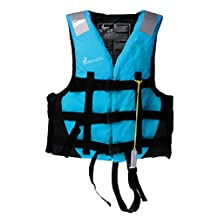 MonkeyJack General Purpose Universal Adult Kids Child Kayak Boating Rafting Life Jacket Paddle Water Sports Rescue Reflective Vest + Whistle (CE Approved)