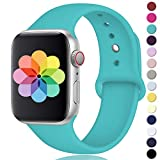 DGege Compatible with Apple Watch Band 42mm 44mm, for Women Men, Silicone Sport Replacement Band Compatible with Apple Watch Series 4/3/2/1, Small/Medium, Teal