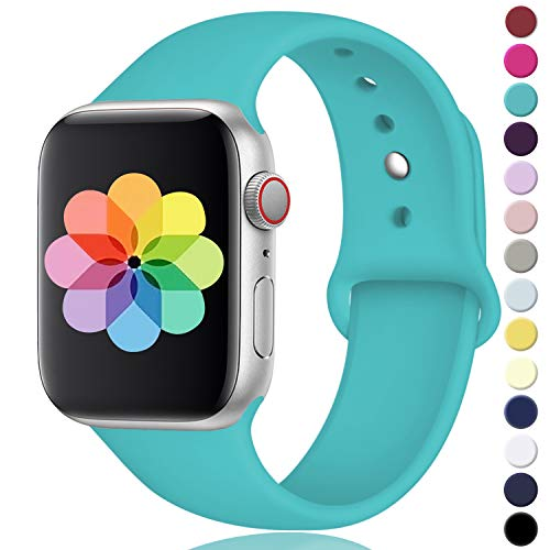 Laffav Compatible with Apple Watch Band 42mm 44mm, for Women Men, Silicone Sport Replacement Band Compatible with Apple Watch Series 4/3/2/1, Small/Medium, Teal