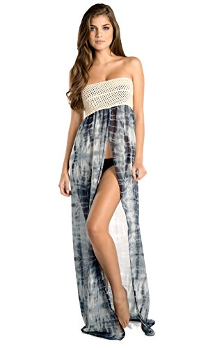 ELAN Women's Strapless Crochet Top Beach Cover-Up Maxi (One Size, Black Tie Dye)