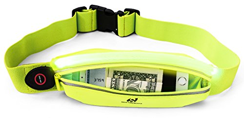 Sport2People Reflective Running Belt Pouch - USB Rechargeable LED Light