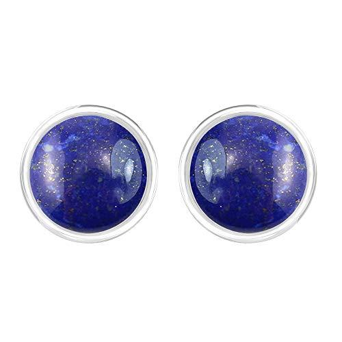 - TISHAVI Natural Lapis 7mm Rounds Sterling Silver Handmade Stud Earrings