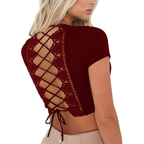 Antopmen Women Sexy Deep V Neck Short Sleeve Back Cross Tied Up Tee Backless Lace Crop Top (Small, WineRed) ()