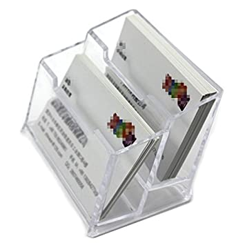 VANKER 1 Pcs Transparent Presentoir A Carte De Visite En Plastique Dur 2 Compartiments Porte