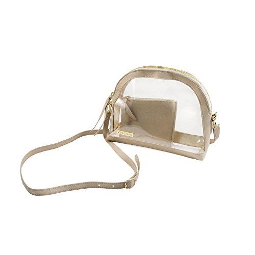 (Capri Designs Clear Half Moon Crossbody Bag/NFL Stadium Approved (Tan))