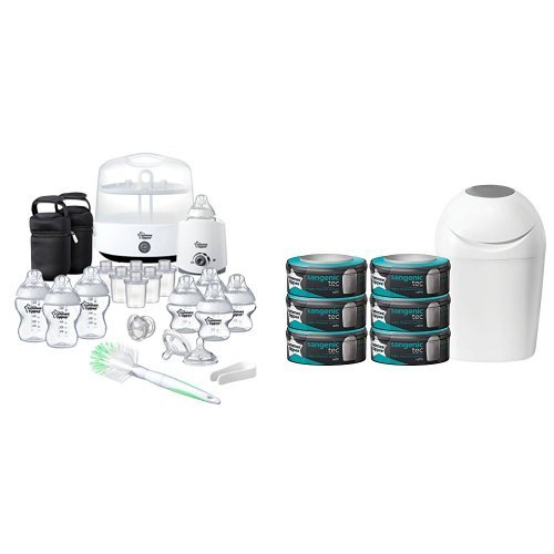 Tommee Tippee Complete Feeding Set (Closer to Nature) with Sangenic Tec Nappy Disposal Starter Pack Bundle