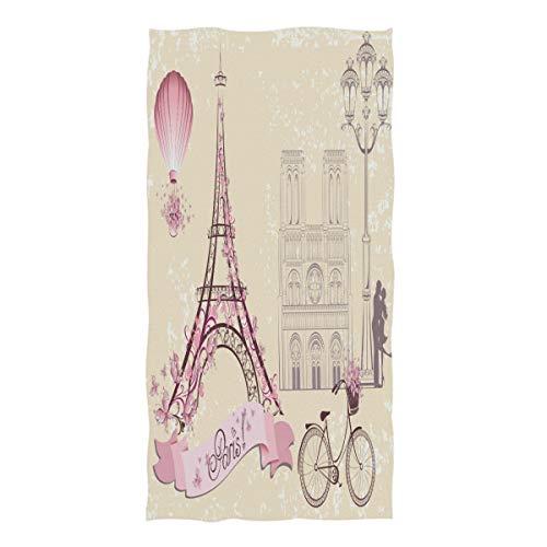 (ZZKKO Romantic Paris Eiffel Towel Happy Valentines Day Towel Washcloth Baby Toddler Kids Boys Girls Women Man for Home Kitchen Bathroom Spa Gym Swim Hotel Use)