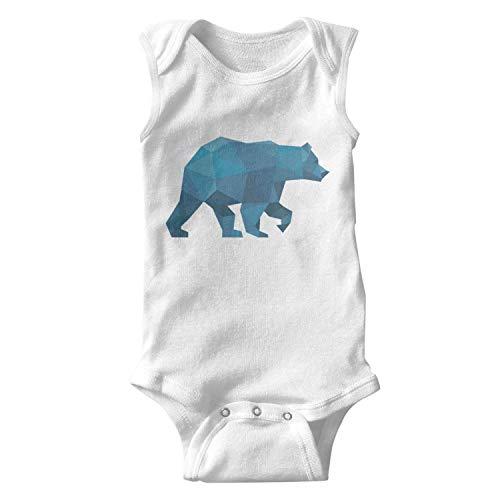 (Voslin Blue Plaid Big Bear Walk Unisex Baby White Onesies Bodysuit Organic Cotton Newborn Sleeveless Vest)