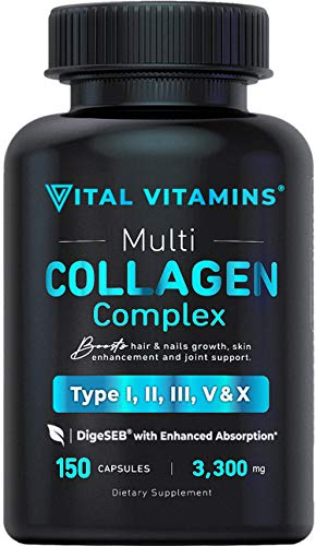 Vital Vitamins Multi Collagen Complex - Type I, II, III, V, X, Grass Fed, Non-GMO, 150 Capsules