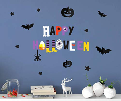 BUCKOO Colorful Happy Halloween Quote Wall Decal, Bat Pumpkin Eyeball Wall Sticker for Bedroom Halloween Party Decoration