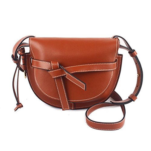 ACTLURE Women Gate Saddle Shaped crossbody bag (Caramel)