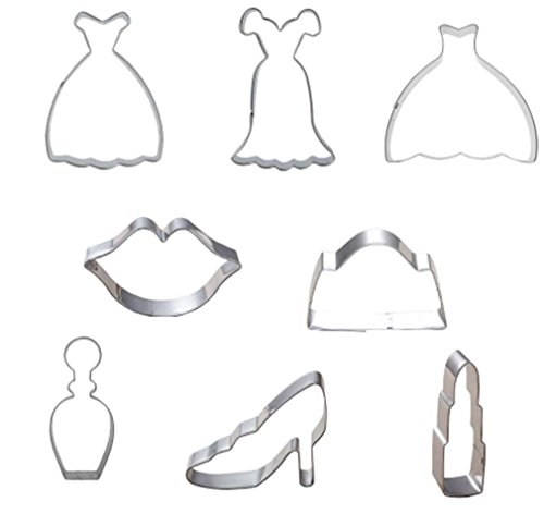 Wocuz Stainless Steel Cookie Cutters Fondant Cutter Cake Cake Decoration Tools 8 PCS Fashion Lady Dress Ballet Suit Corset Skirt lips lipstick High-heeled Shoes Cosmetic Bag Perfume Corset Lip
