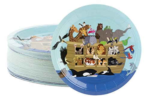 Disposable Plates - 80-Count Paper Plates, Noah's Ark Party Supplies for Appetizer, Lunch, Dinner, and Dessert, Church Gatherings, 9 x 9 Inches
