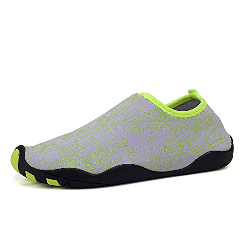 YIRUIYA Frauen Männer Quick-Dry Barfuß Wasser Schuhe Haut Aqua Socken Mit Entwässerung Löcher ¡ Grün Grau