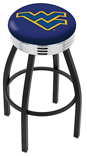 """25"""" L8B3C - Black Wrinkle West Virginia Swivel Bar Stool with Chrome 2.5"""" Ribbed Accent Ring by Holland Bar Stool Company"""
