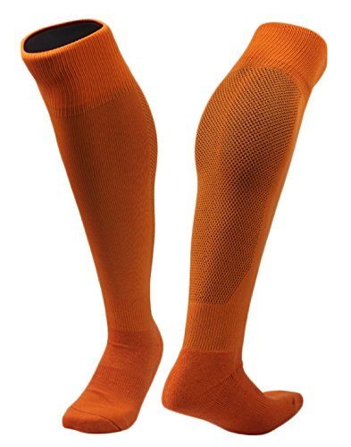 Lovely Annie Women's 2 Pairs Knee High Sports Socks for Baseball/Soccer/Lacrosse 005 M(Orange) ()