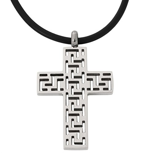 Greek Jewelry Roll (Greek Key Cutout Cross Stainless Steel Pendant Cord Necklace)