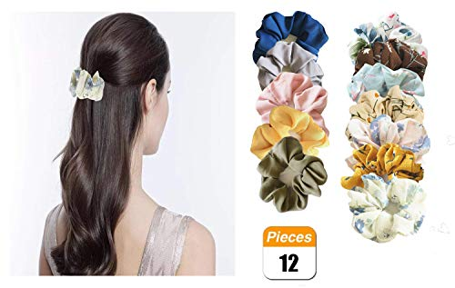 12 Pack Chiffon Flower Hair Scrunchies, Large Hair Ties Ropes Elastic Hair Bands Ponytail Holder for Women