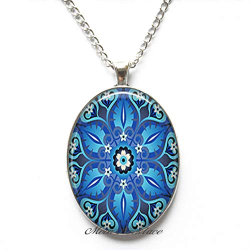 Charm Necklace,Ornate Blue Art Pendant,Blue Moroccan Tile Necklace Turquoise Moroccan Tile Design Ornate Tile Necklace-ZE020 ()