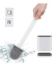 Ayxnzjsjm WC-borstel, siliconen toiletborstel en houder,Dubbele basis toiletborstelhouder set voor badkamer, Sneldrogend rek, Zachte toiletborstel voor wand / verticale badkamer, wit