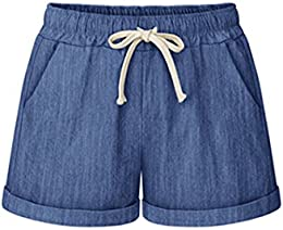 Women's High Waist Drawstring Casual Comfy Cotton Linen Shorts