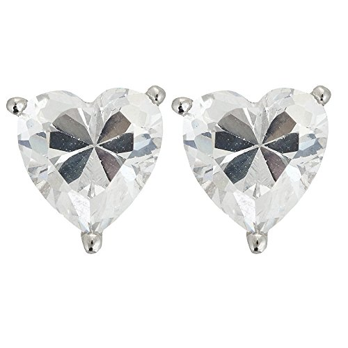 Sterling Silver 8x8mm AAA Heart Solitaire Stud Earrings (sterling-silver)