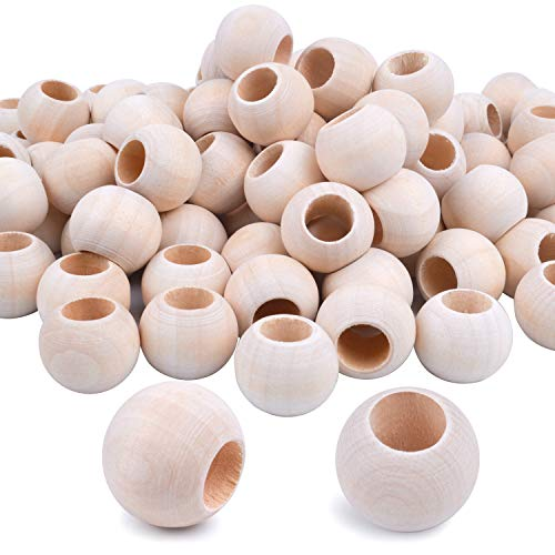 Jdesun 100 Pieces Wooden Beads, Natural Round Wood Loose Beads Wood Spacer 20mm x Diameter 3/8