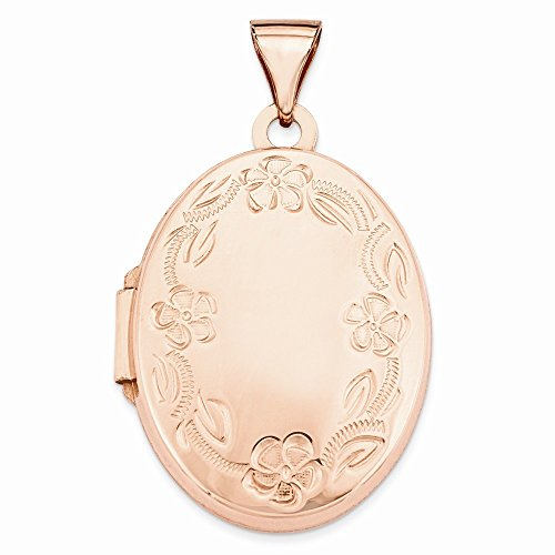 - 14k Rose Gold Polished 21mm Oval Leaf Floral Scroll Border Locket Pendant