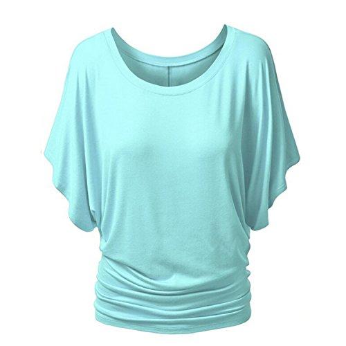 Fashion Story Women Ladies Summer Short Sleeve Boat Neck Dolman Top Blouse -