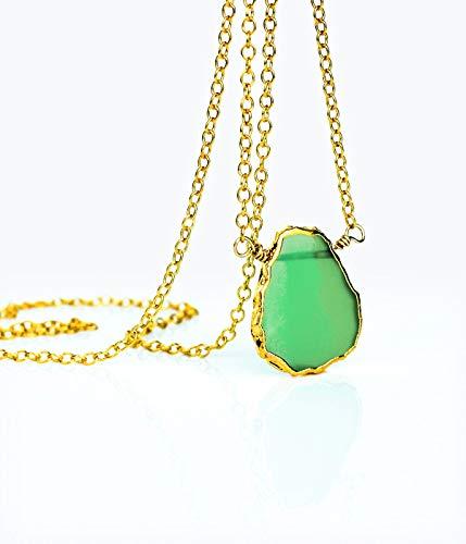 Chrysoprase Slice Necklace, Natural Freeform Chrysoprase Necklace, layering necklace