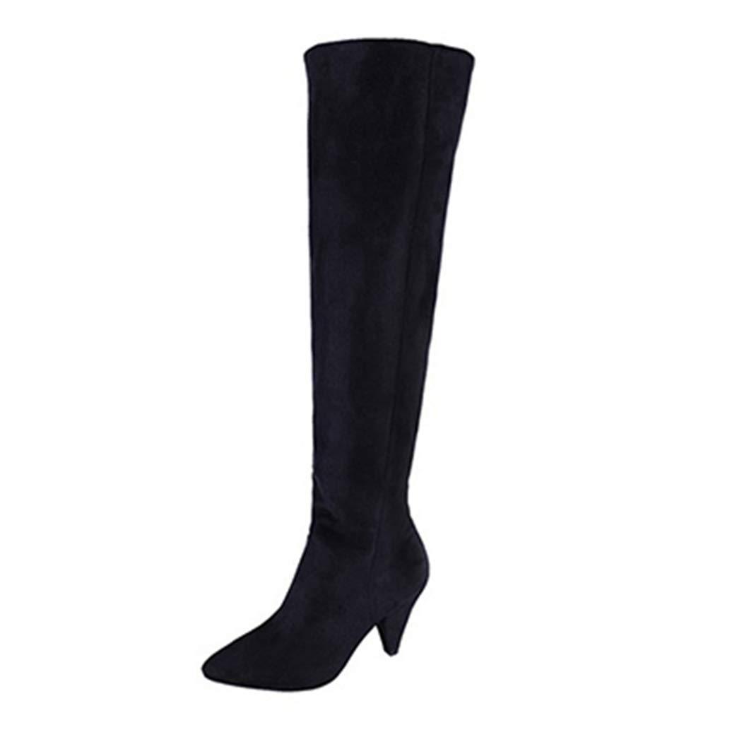 KYLYN Winterstiefel Oberschenkel hoch über dem Knie breiter Wadenblock Hoher Absatz Lange Stiefel Stretch Chunky Schwarze Schneestiefel