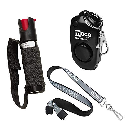 Safety First Runners Safety Bundle: Sabre Jogger Runner Pepper Spray, Mace Personal Alarm and a Black Reflective Breakaway Lanyard - Lot of 3 as Shown (Model Mace Jogger)