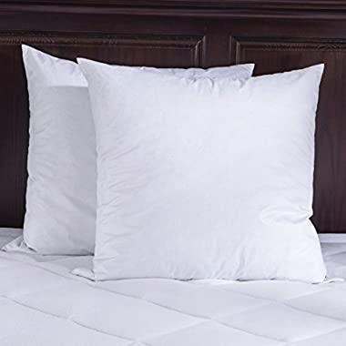 Puredown-18X18 -95% Feather 5% Down Square Pillow Insert-Pack of 2