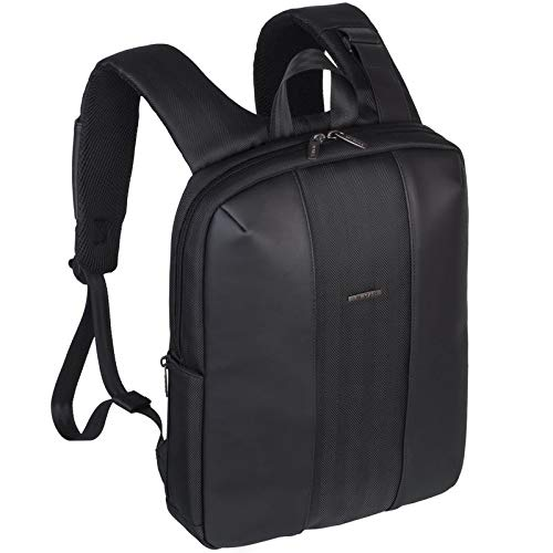 Rivacase 8125 Slim Backpack, 14 inch Laptop Case, Unisex, Faux Leather Back Pack, Business Backpack, Charcoal