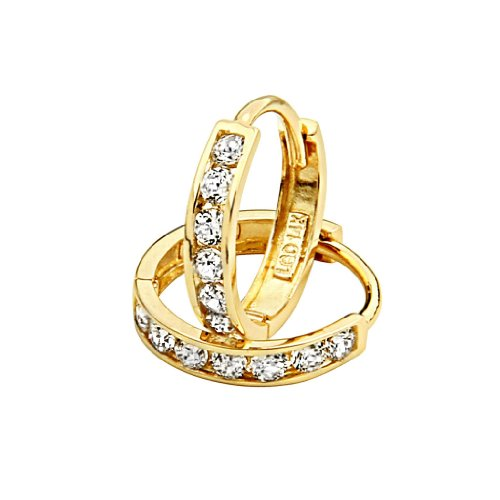 14k Yellow Gold 2mm Thickness CZ Channel Set Hoop Huggie Earrings (12 x 12 mm) (14k Earring Set Hoop)