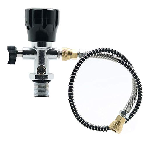 IORMAN Paintball CO2 Tank Regulator & Fill Station, 300bar/4500psi High Pressure, 7/8-14 UNF Thread, DIN Valve Gauge with Hose Charging Fittings for PCP -