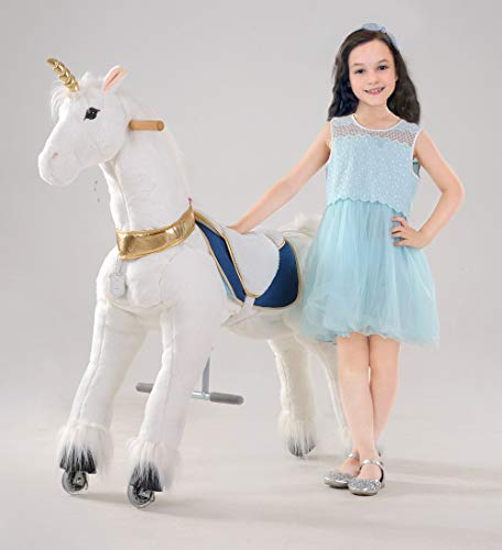 UFREE Large Mechanical Rocking Horse Toy, Ride on Bounce up and Down and Move, 44 inch for Children 6 Years to Adult, Unicorn with Golden Horn ()