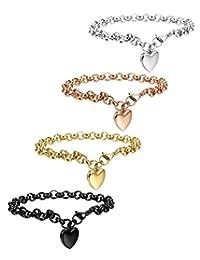 FIBO STEEL 1-4 Pcs Stainless Steel Womens Charm Bracelets for Teen Girls Link Heart Bracelets,7.5 inches