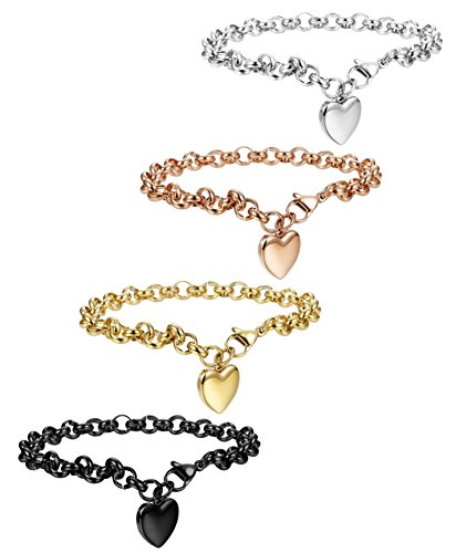 FIBO STEEL 4 Pcs Stainless Steel Womens Charm Bracelets for Teen Girls Link Heart Bracelets,7.5 inches