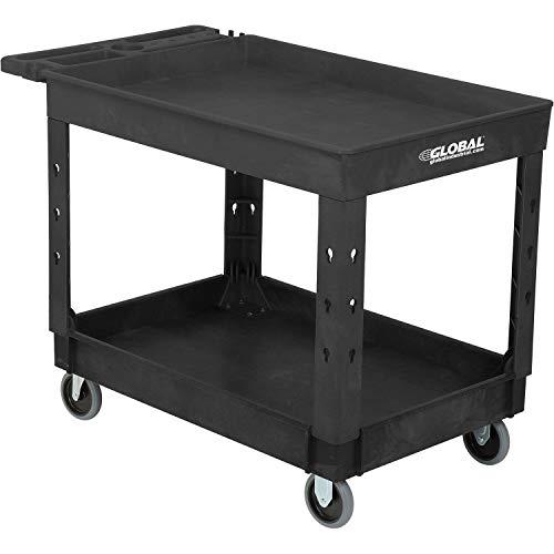 Industrial Service & Utility Cart, Plastic 2 Tray Black Shelf, 44