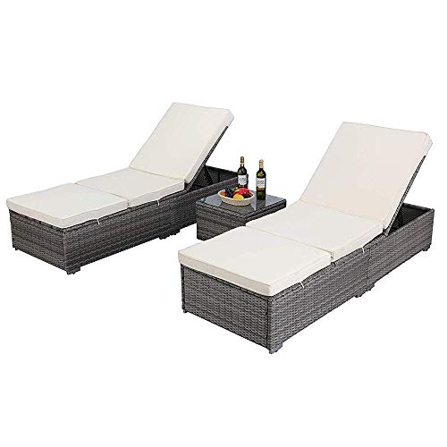 HTTH Outdoor Chaise Lounge, Easy to Assemble Chaise Longue, Thick & Comfy Cushion Wicker Lounge Chairs, 3 Pcs Chaise Lounge Chair Set for Garden,Patio,Pool (5013-GY+White)