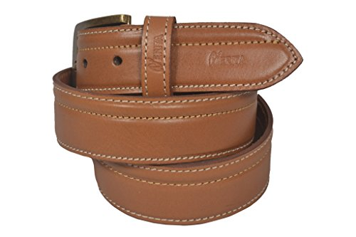Nerita Men's Casual Genuine Leather Belt in with pin Buckle in 40 mm width TAN Leather Belt