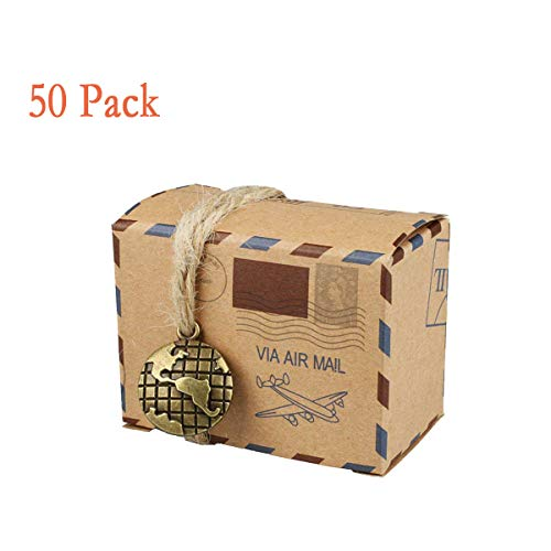 Bestga 50 PCS Candy Gift Boxes, DIY Kraft Boxes Retro Post Mail Style Wedding Party Favor Gift Boxes Xmas Cookie Treat Goody Paper Boxes Bags for Christmas, Birthday, Holiday, Thanksgiving - Map from Bestga