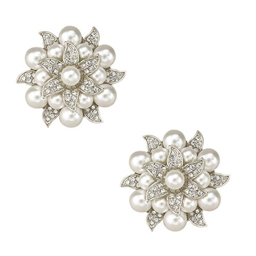 L'vow Crystal Pearl Clothes Dress Sweater Hat Brooch Shoes Clip Wedding Decoration Pack of 2 (silver)