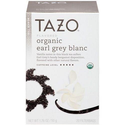 Tazo Organic Earl Grey Blanc Black Tea - 20 bags per pack -- 6 packs per case. Blanc Tea