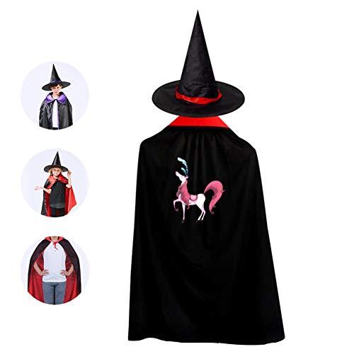 69PF-1 Halloween Cape Matching Witch Hat Unicorn Pink Wizard Cloak Masquerade Cosplay Custume Robe Kids/Boy/Girl Gift Red