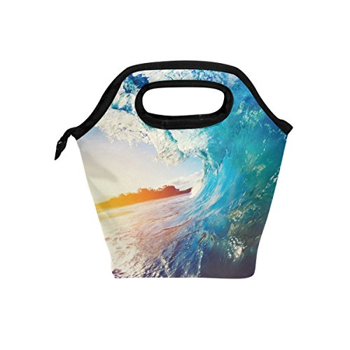 JOYPRINT Lunch Box Bag, Ocean Sea Wave Insulated Cooler Ice Lunchbox Tote Bag Handbag for Men Women Kids Adult Boys Girls by JOYPRINT