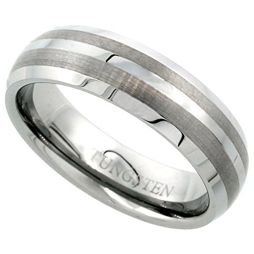 (Sabrina Silver Tungsten Carbide 6 mm Dome Wedding Band Ring for Women Etched Double Stripes Beveled Edges, size 9)